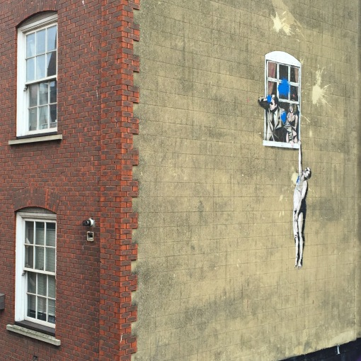 Banksy - The Naked Man Hangin From Window #LoveGreatBritain