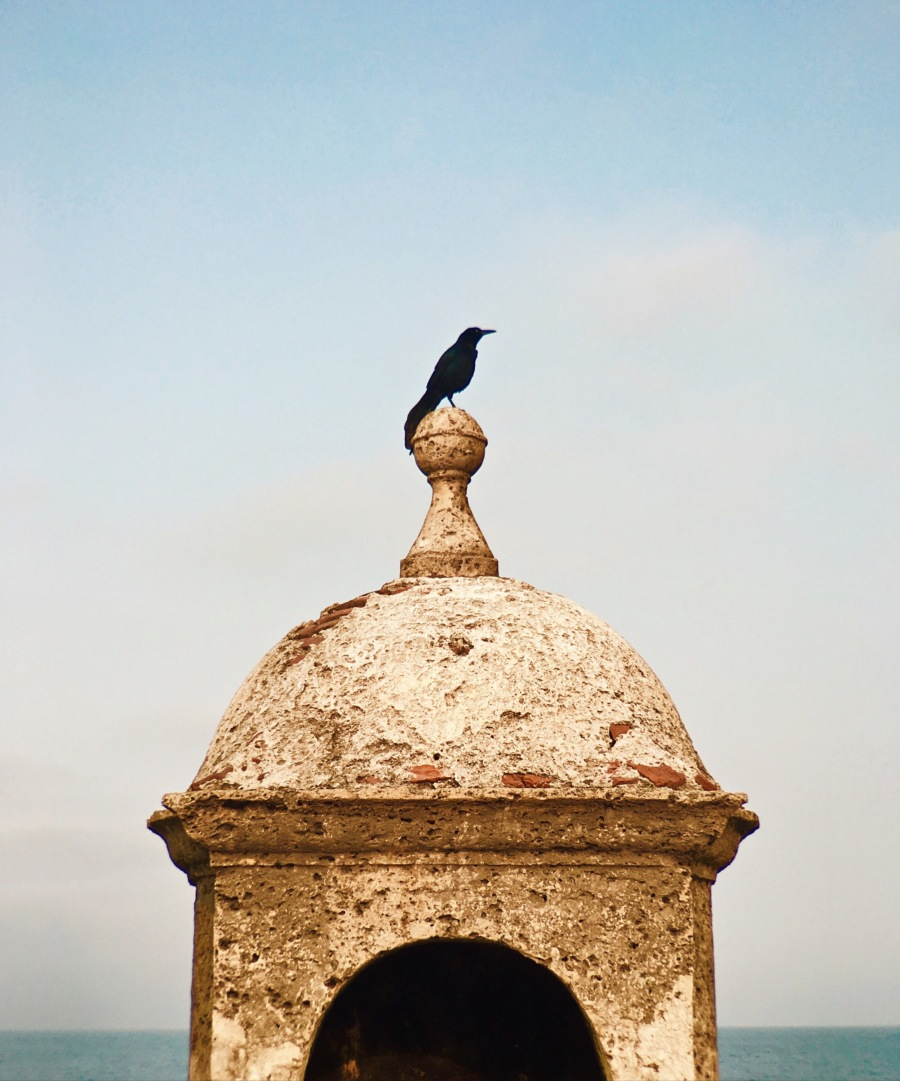 Amanhecer na muralha da cidade de Cartagena